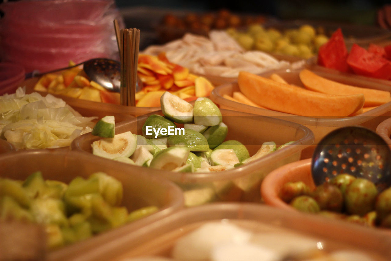 High angle view of food in containers on table
