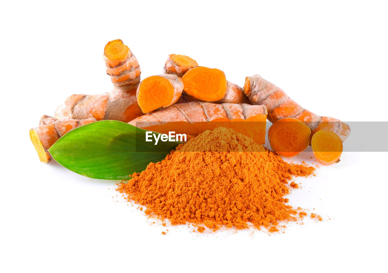 white background, studio shot, food and drink, food, freshness, indoors, still life, close-up, ingredient, orange color, cut out, no people, healthy eating, wellbeing, spice, ready-to-eat, ground - culinary, high angle view, choice, leaf