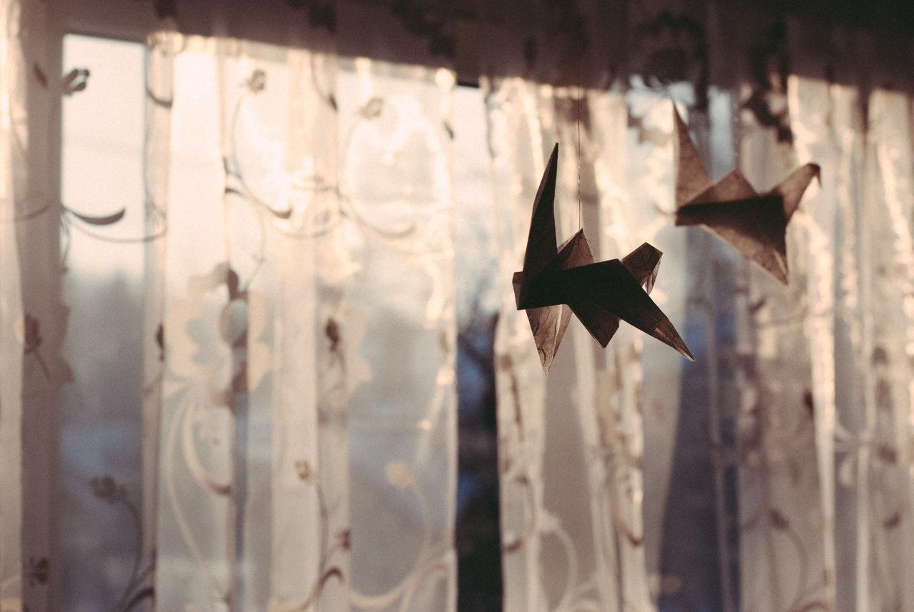 Close-Up Of Origami Paper Crane Handing Against Window