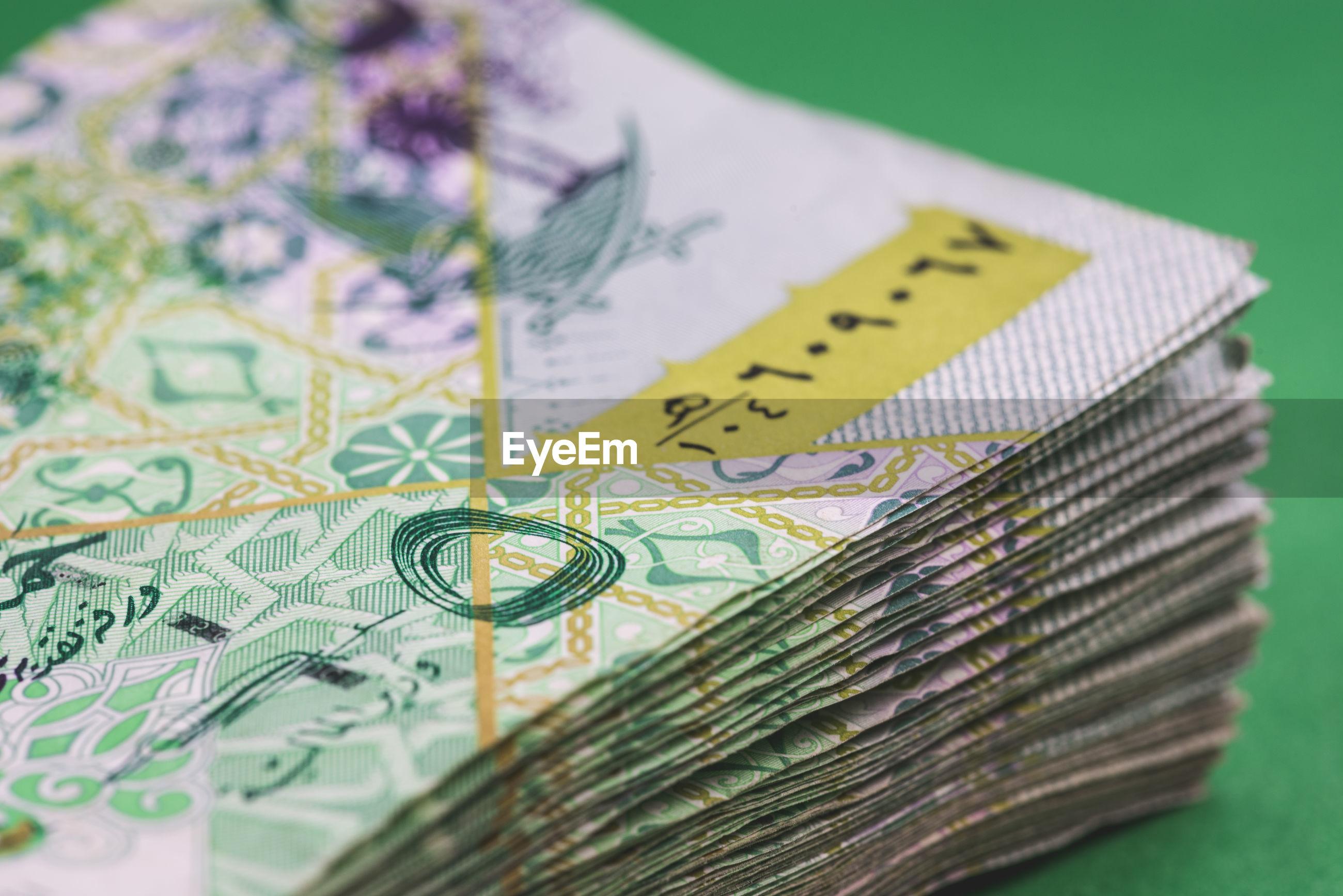 Close-up of paper currencies