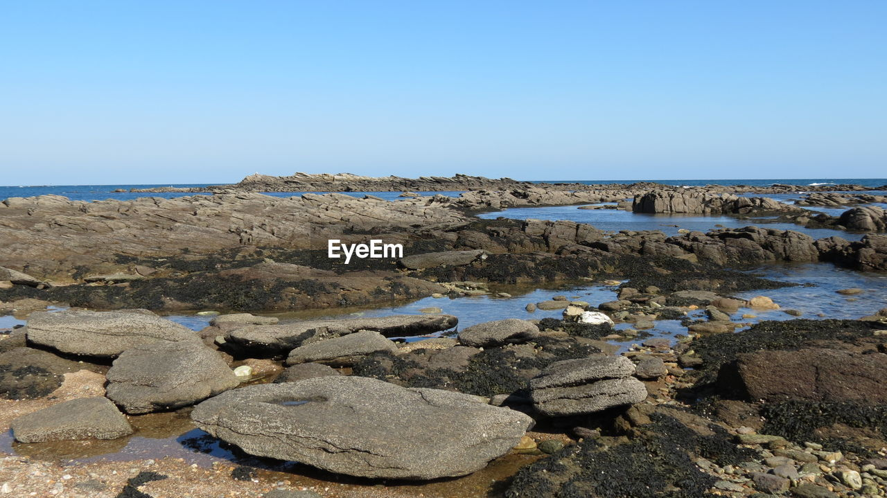rock - object, sea, nature, clear sky, copy space, water, beauty in nature, tranquility, beach, horizon over water, tranquil scene, scenics, outdoors, day, blue, no people, sky, pebble beach