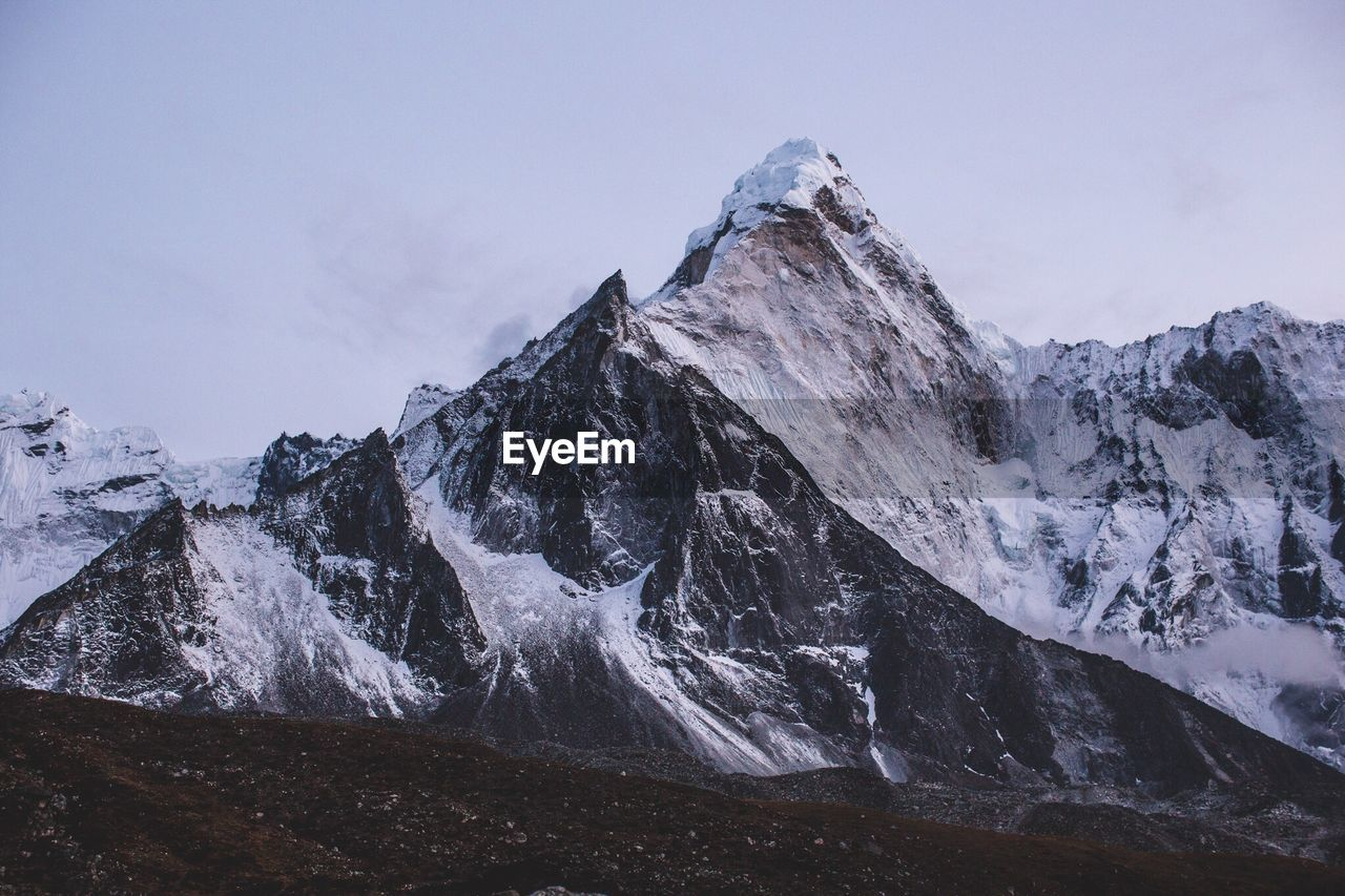 Scenic View Of Snowcapped Ama Dablam Against Sky