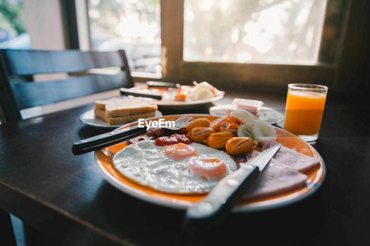 Close-Up Of Served Breakfast