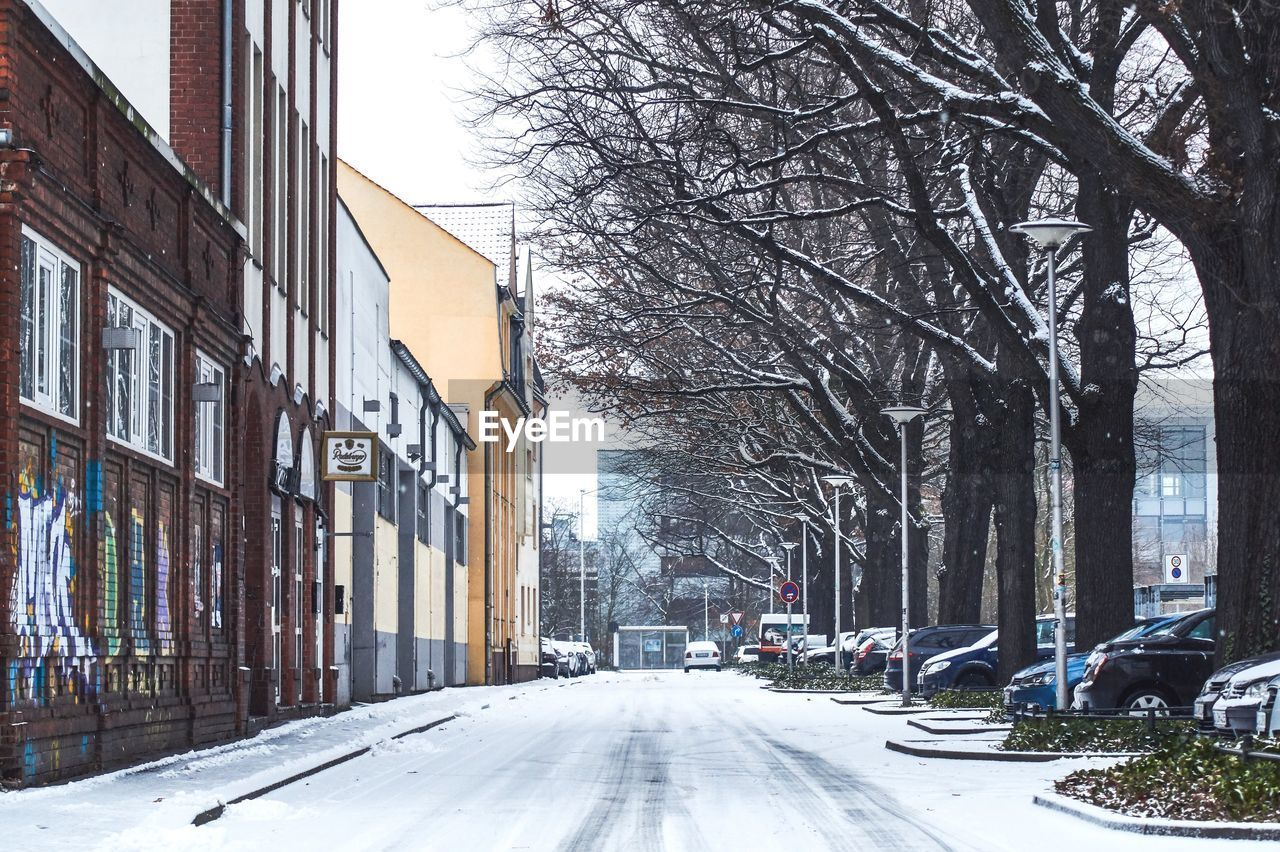 building exterior, tree, winter, architecture, cold temperature, snow, built structure, bare tree, building, city, road, nature, plant, transportation, day, no people, street, direction, residential district, outdoors, diminishing perspective, snowing, treelined