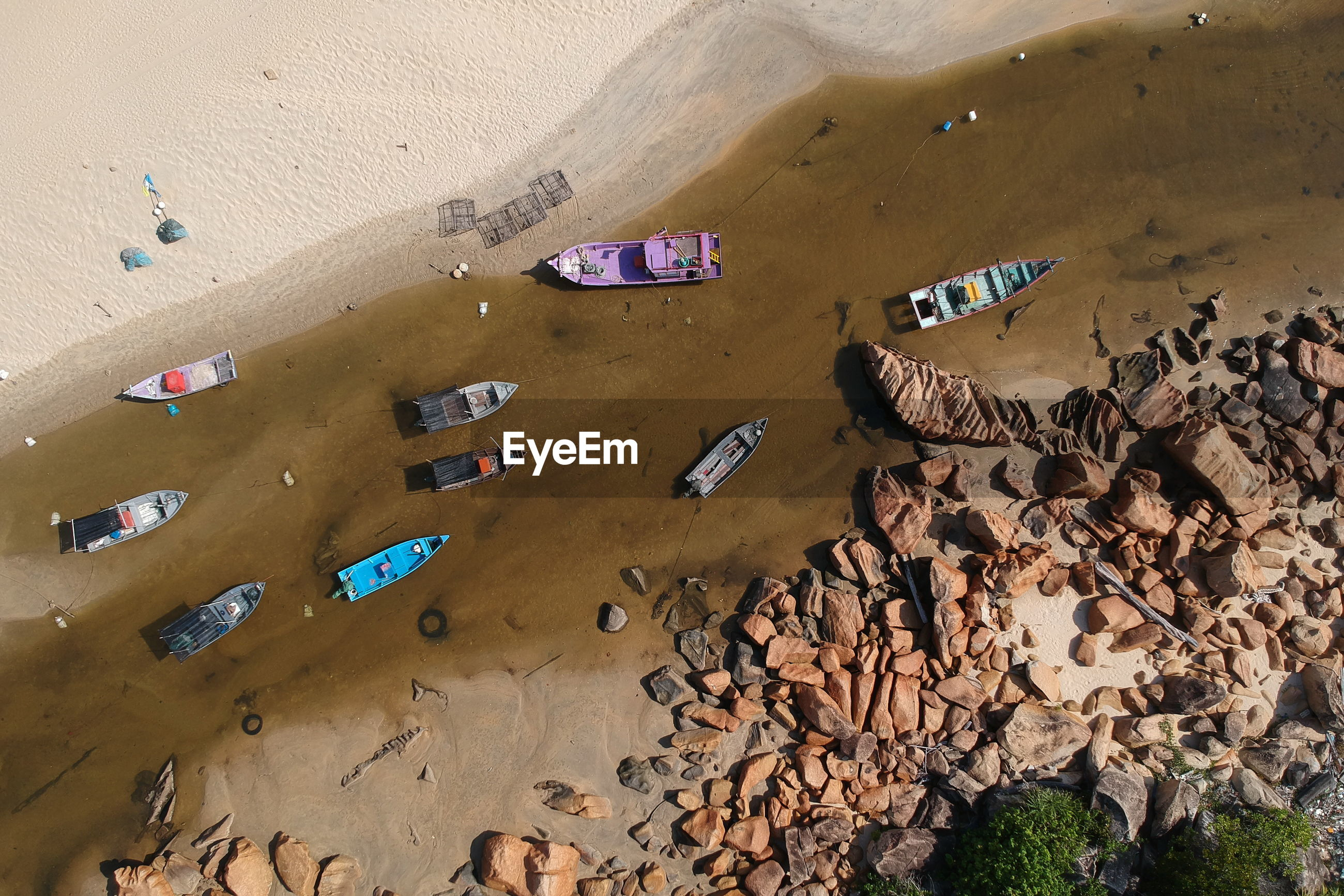 High angle view of boats at beach