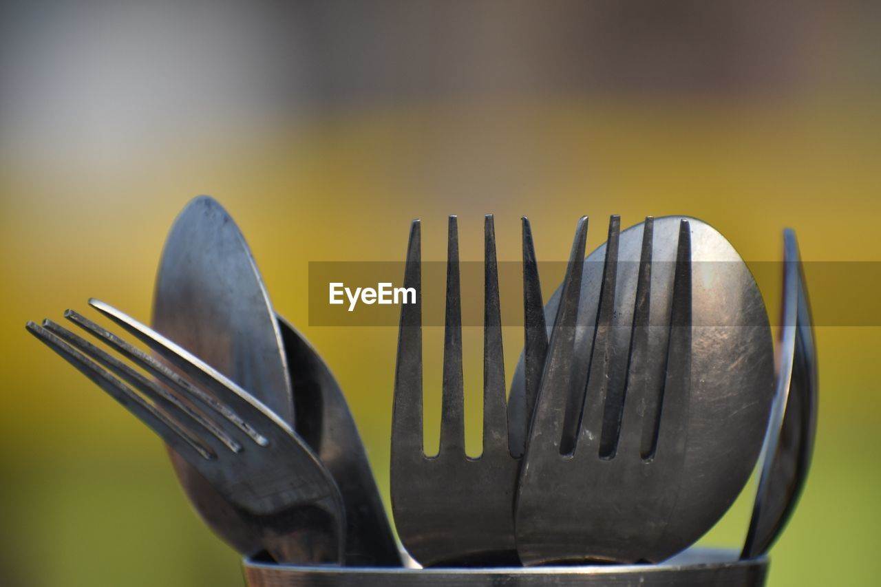 Close-up of fork and spoon