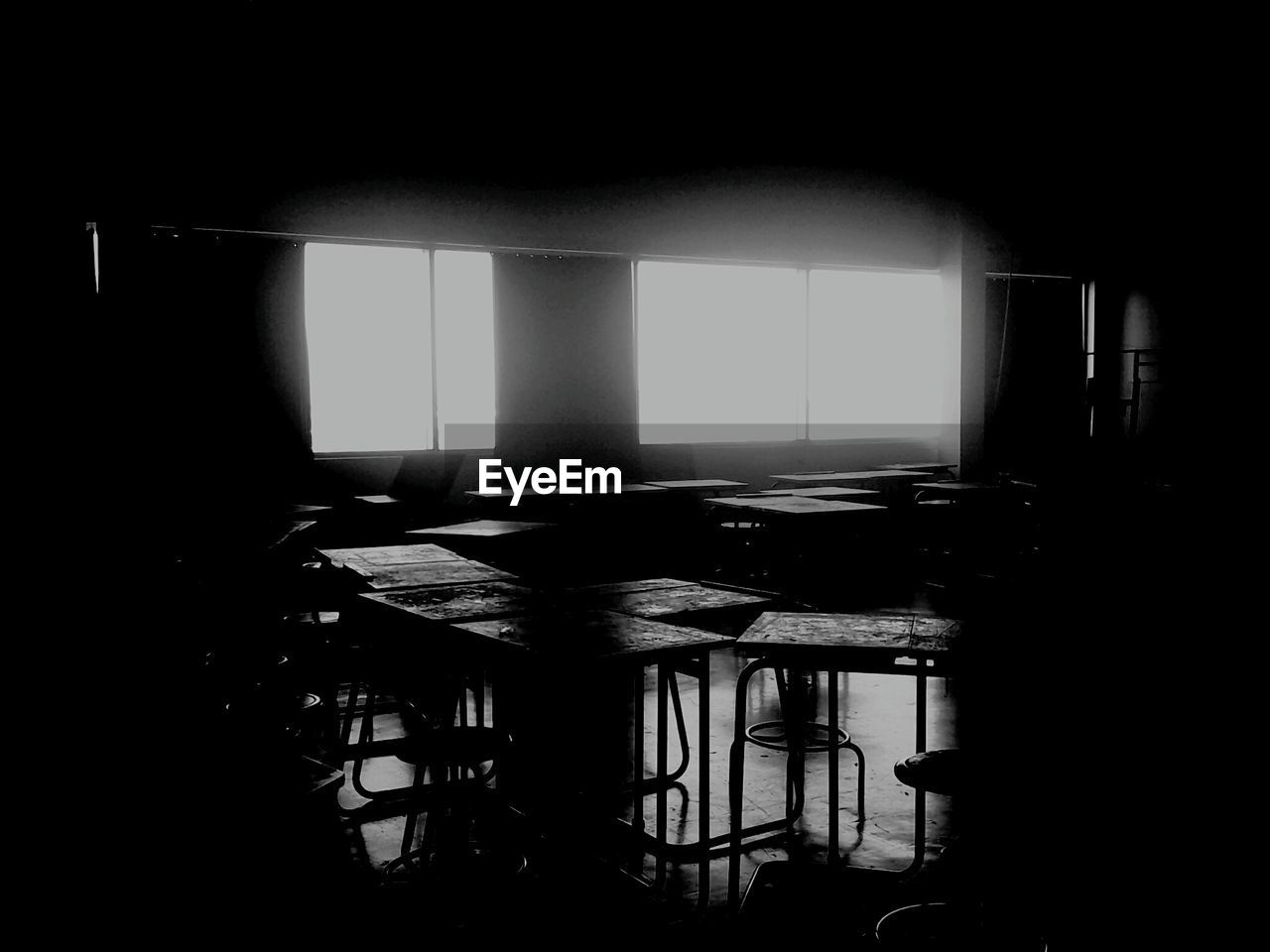 table, indoors, chair, empty, dark, no people, classroom, education, day