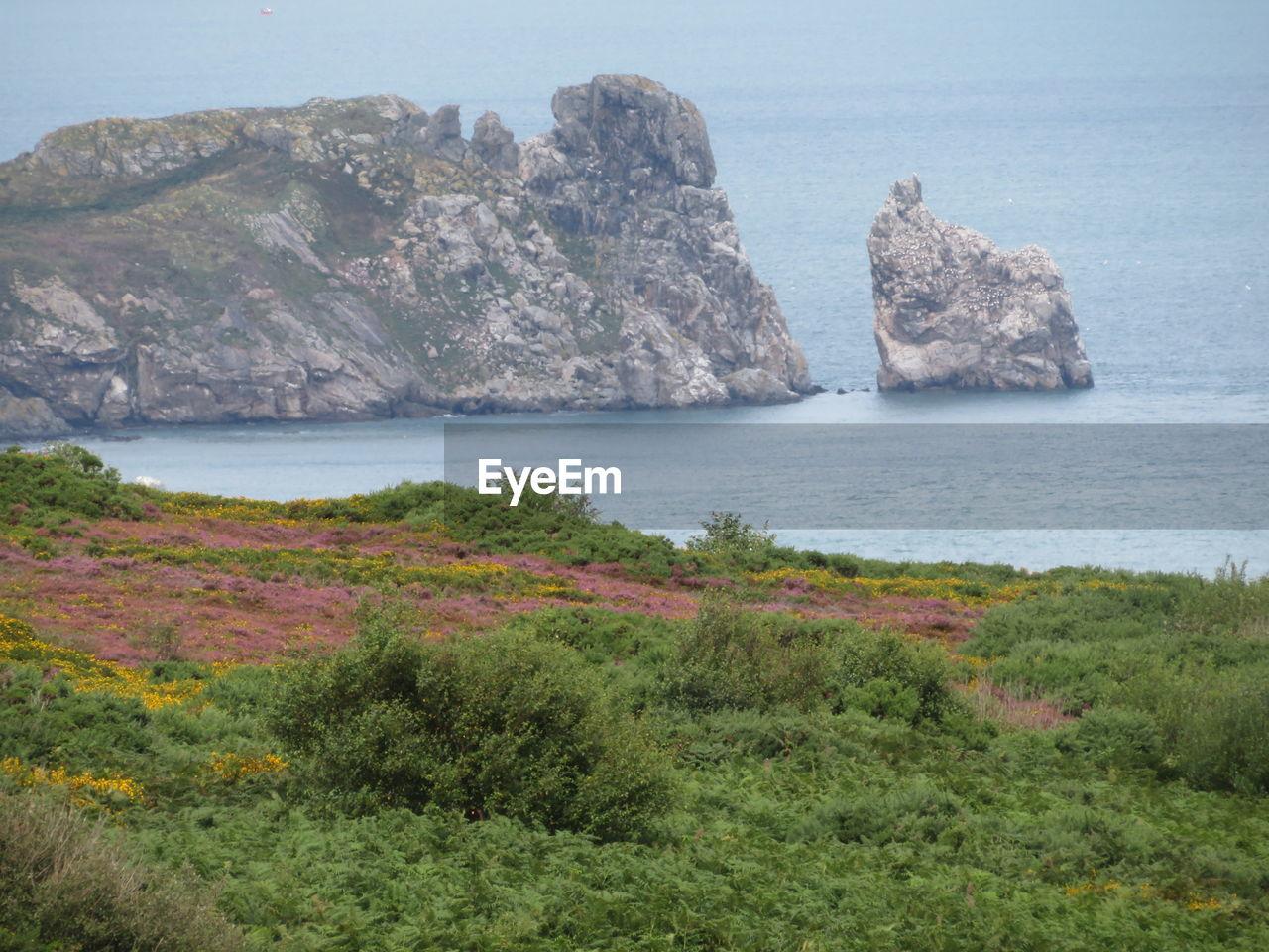 Scenic view of rocks on sea shore