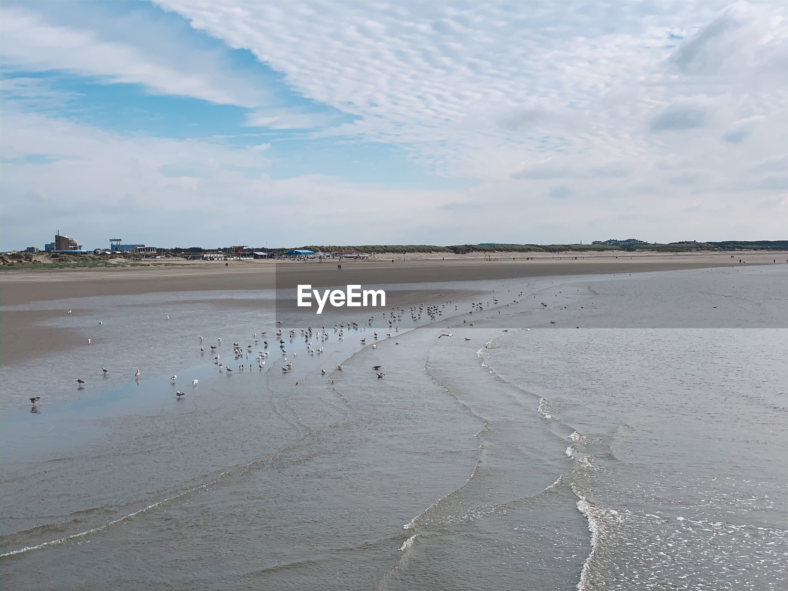SCENIC VIEW OF WET BEACH AGAINST SKY