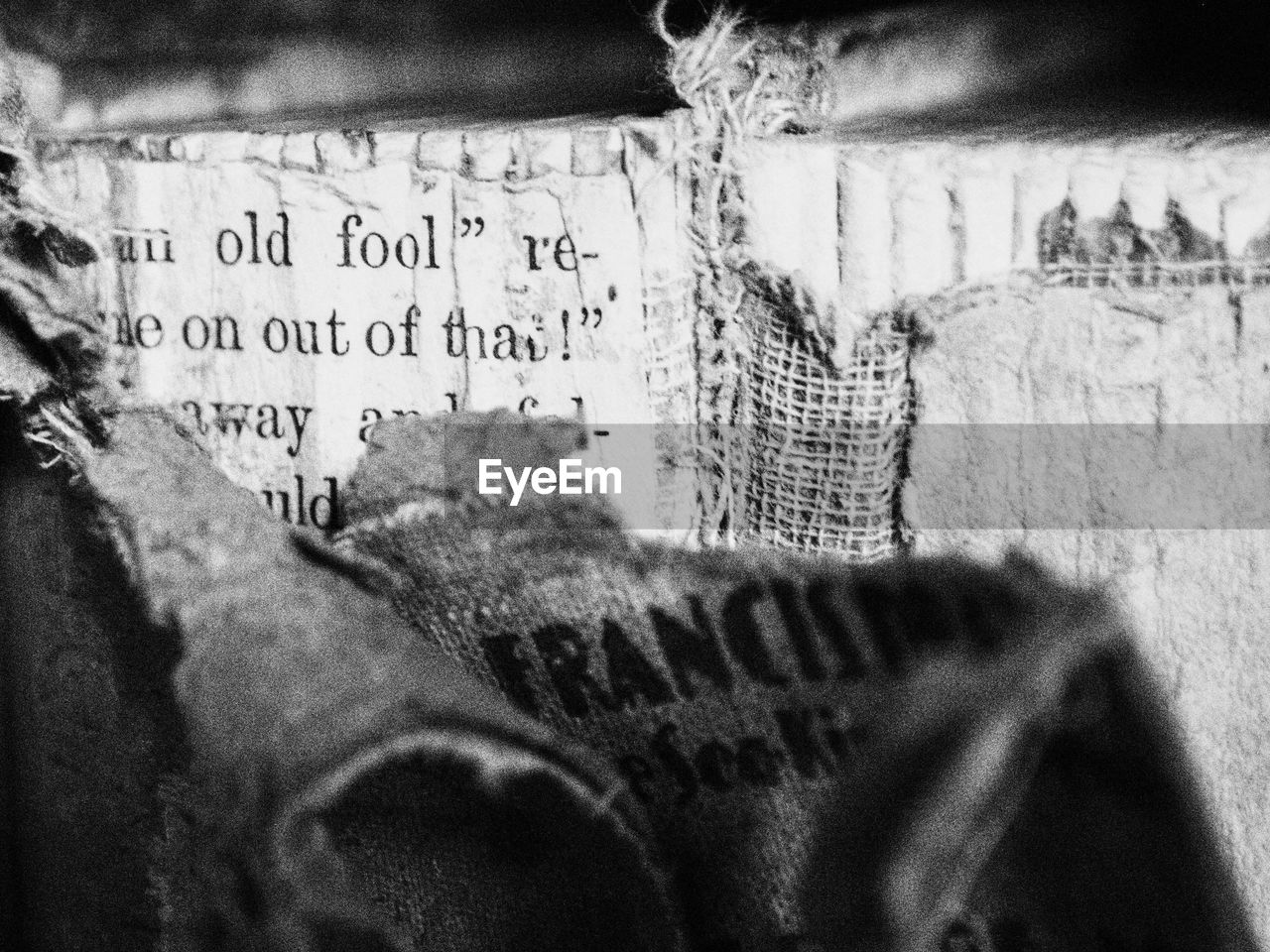 Detail of torn book cover