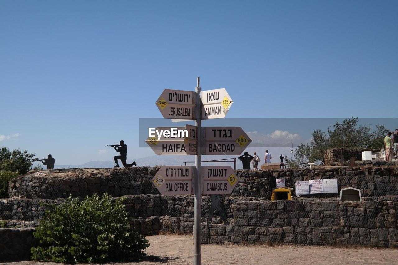 Direction Sign In Hebrew, Shooting Range In Background, Israel