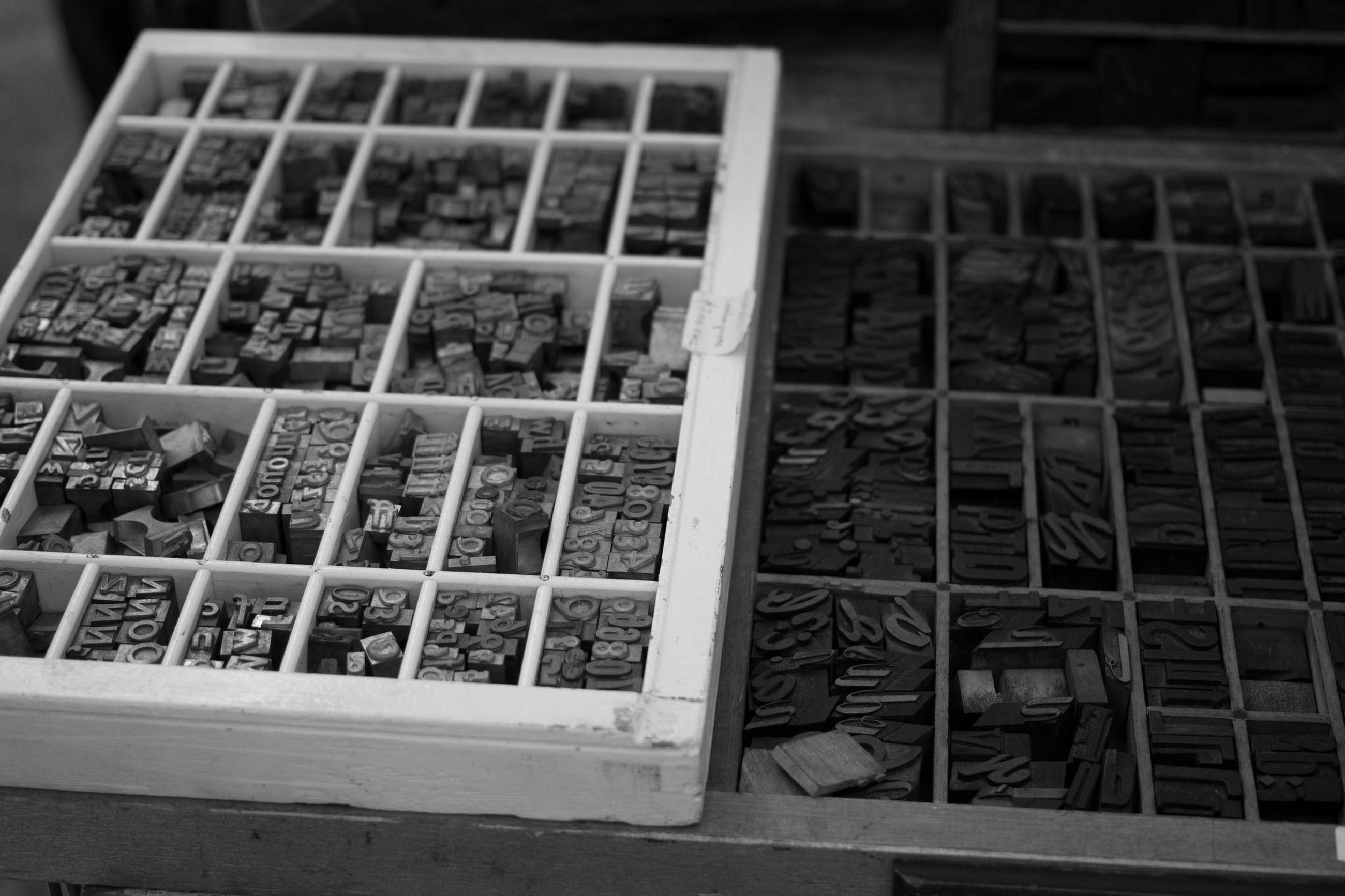 High angle view of printing blocks