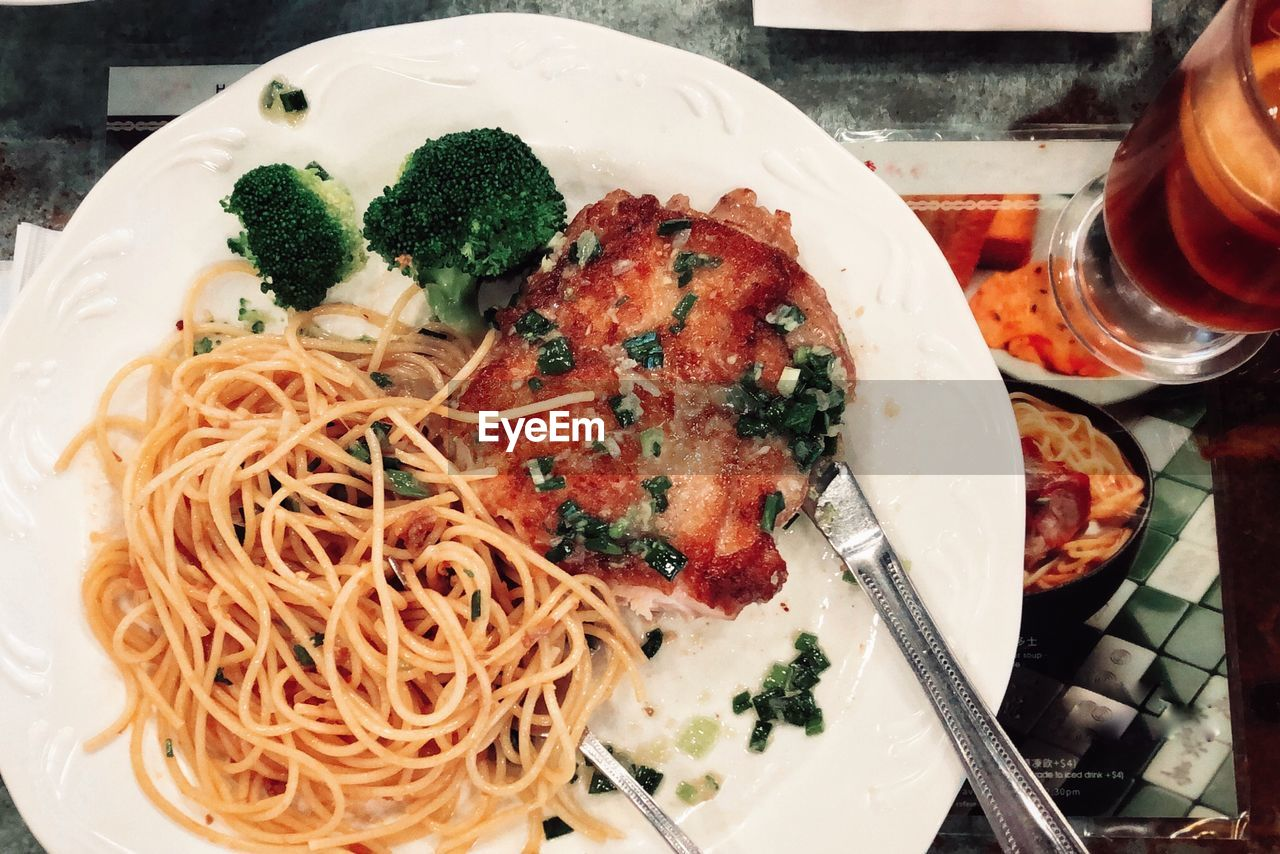food and drink, food, freshness, ready-to-eat, plate, indoors, table, healthy eating, still life, close-up, italian food, pasta, wellbeing, meal, serving size, eating utensil, kitchen utensil, indulgence, no people, spaghetti, temptation, herb, garnish, dinner, crockery
