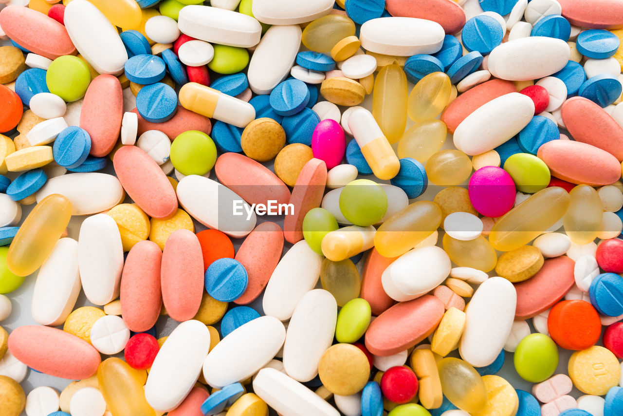 Close-up of multi colored pills