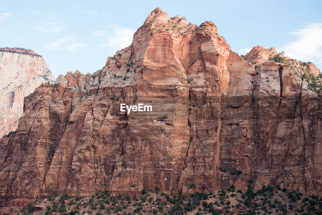 Scenic View Of Rocky Mountains At Zion National Park