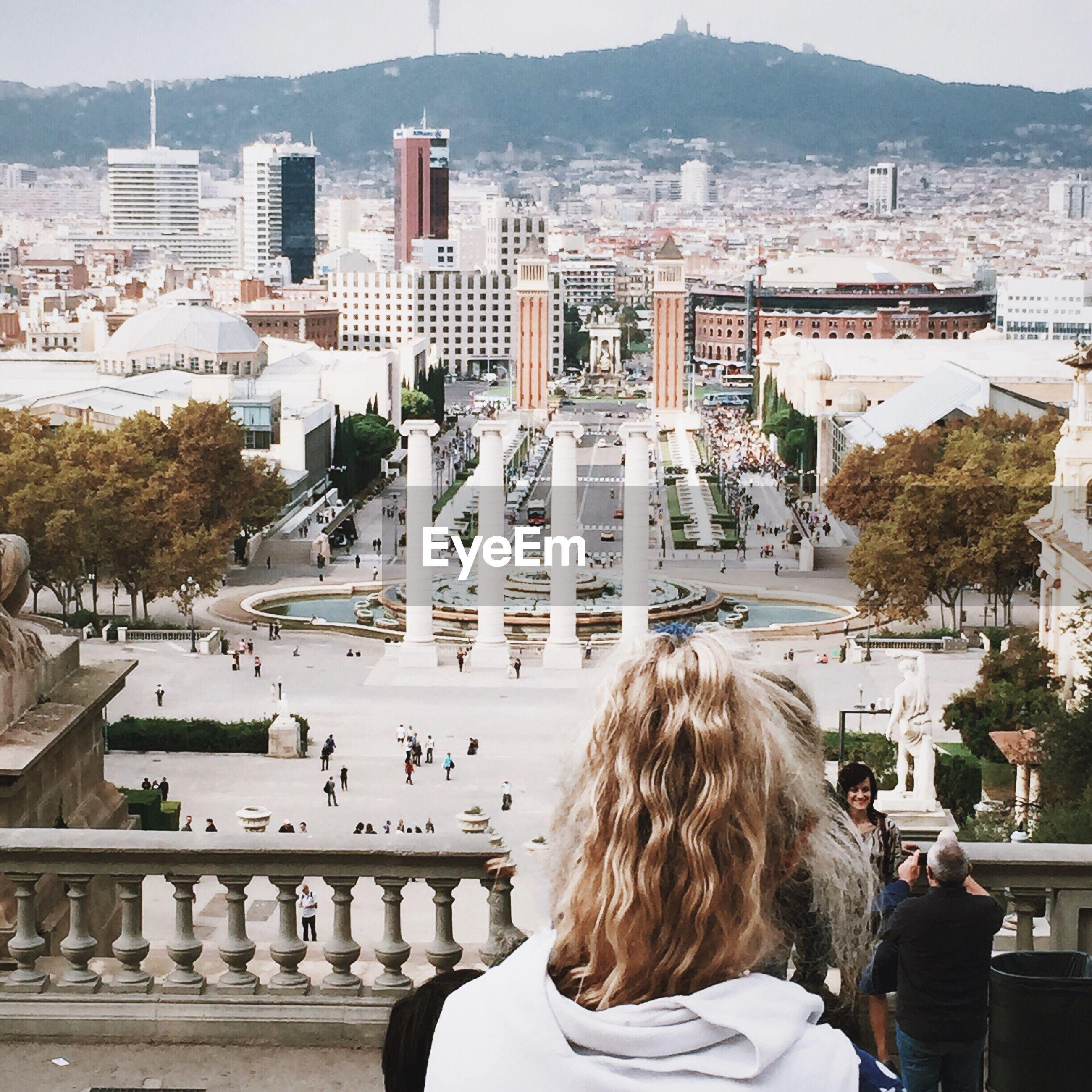View of plaza de espana from palau nacional de montjuic