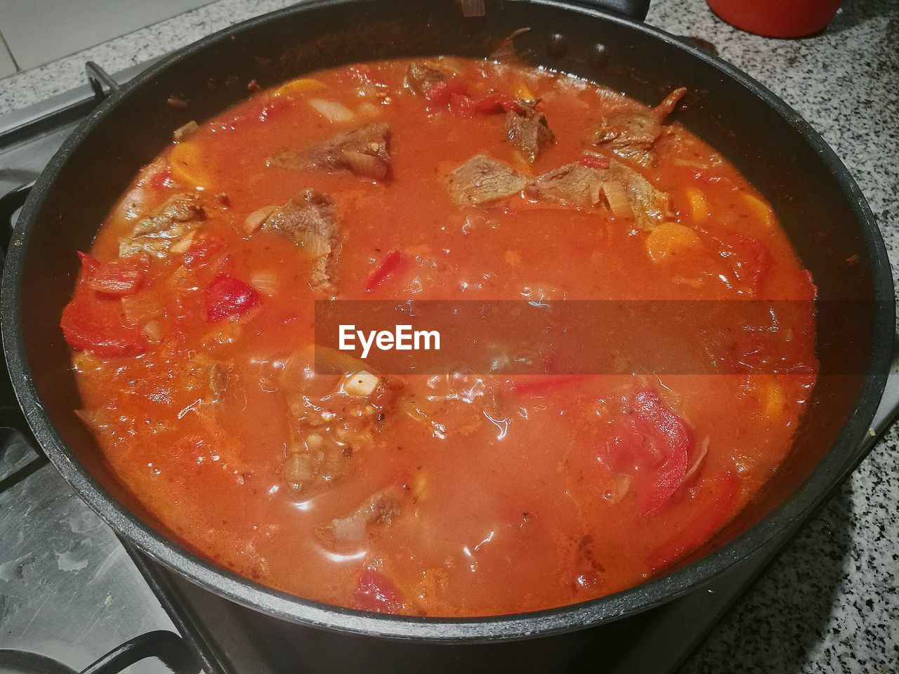 food and drink, food, freshness, soup, still life, healthy eating, bowl, high angle view, indoors, ready-to-eat, no people, meat, serving size, red, close-up, vegetable soup, day