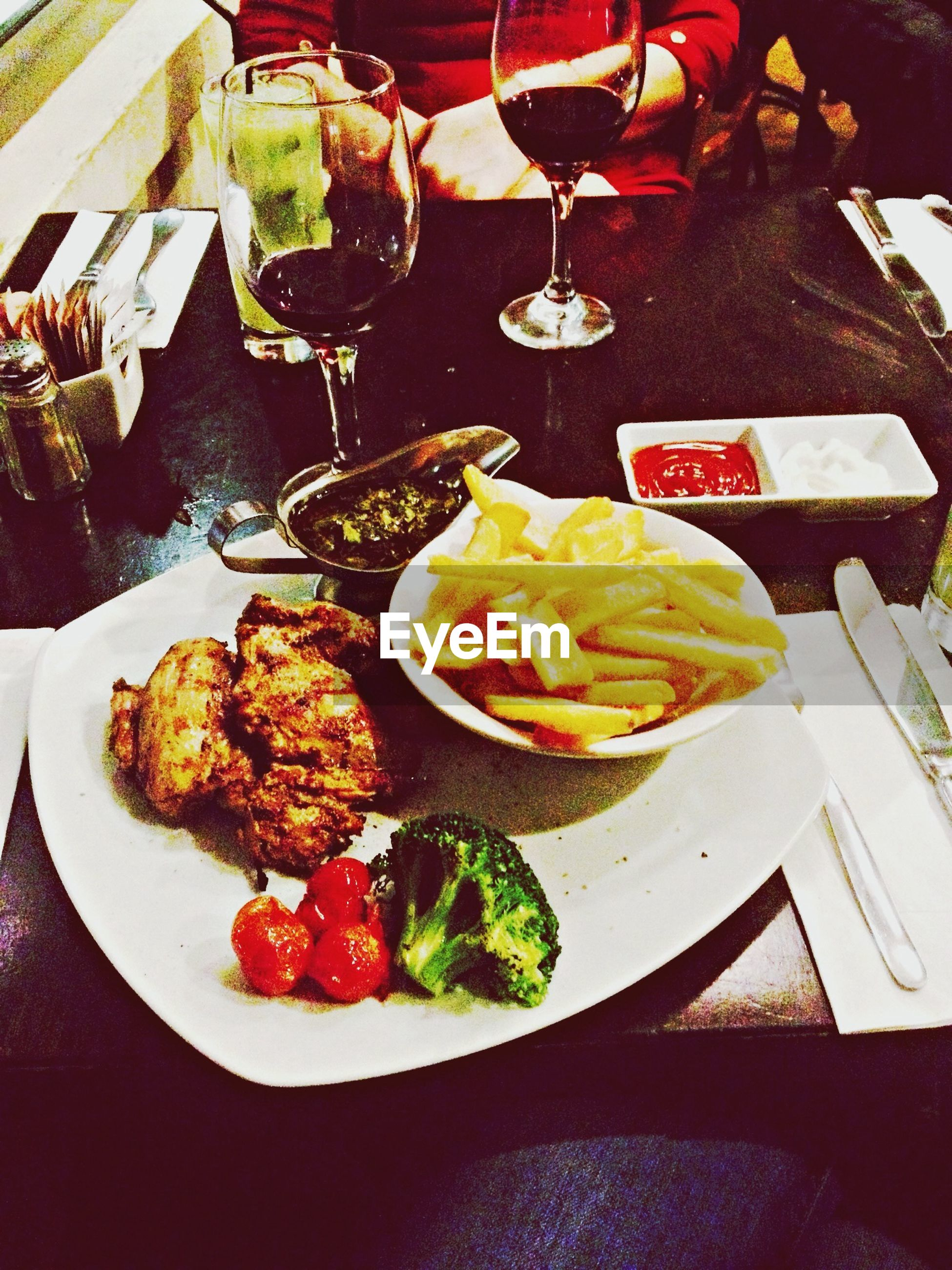 food and drink, food, freshness, indoors, healthy eating, ready-to-eat, plate, table, still life, indulgence, high angle view, meat, variation, serving size, meal, slice, vegetable, fruit, seafood