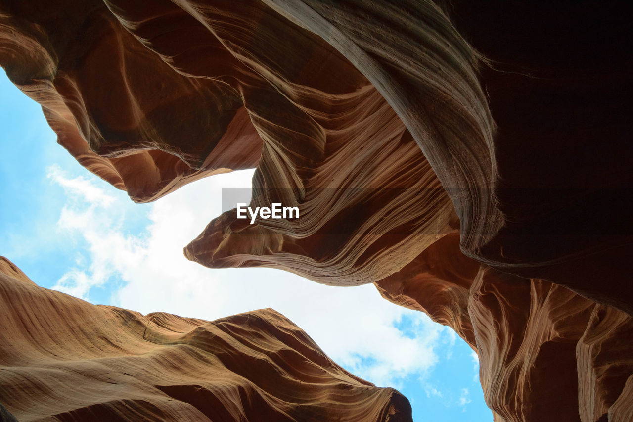 Low angle view of rock formation against the sky