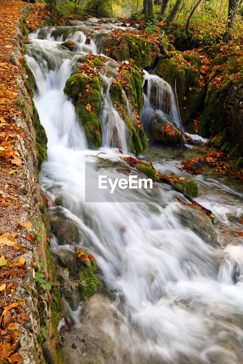 Scenic View Of Waterfall At Plitvice Lakes National Park