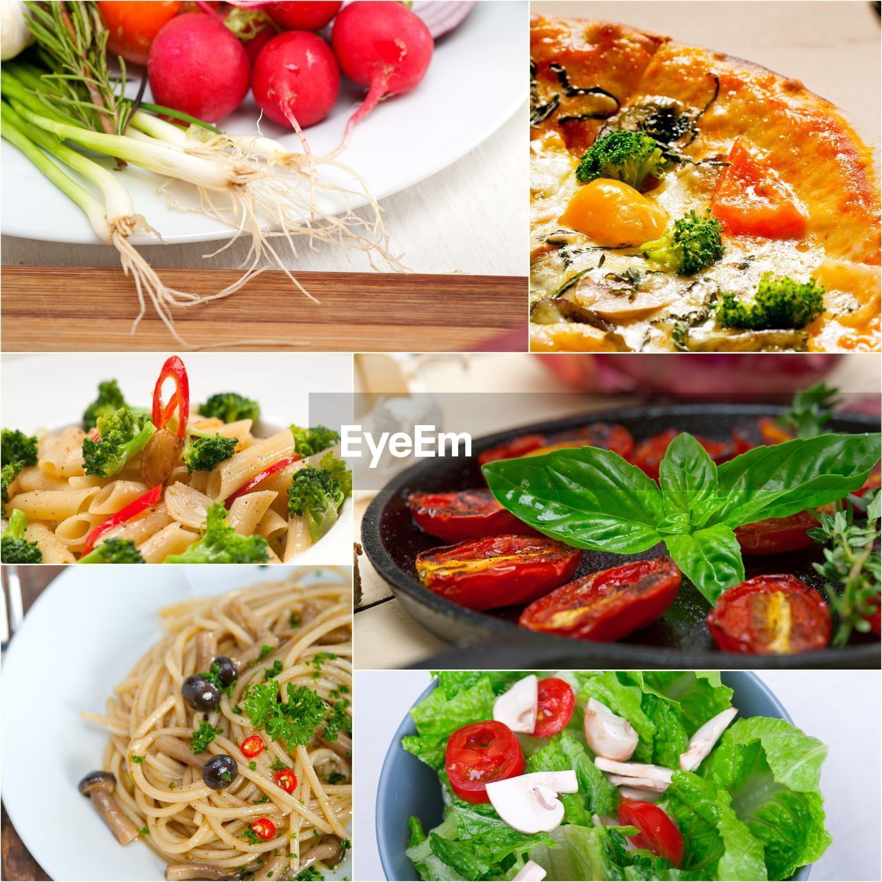food and drink, tomato, freshness, food, still life, ready-to-eat, vegetable, indulgence, salad, indoors, table, bowl, collage, plate, healthy eating, no people, close-up, lettuce, serving size, basil, leaf, multiple image