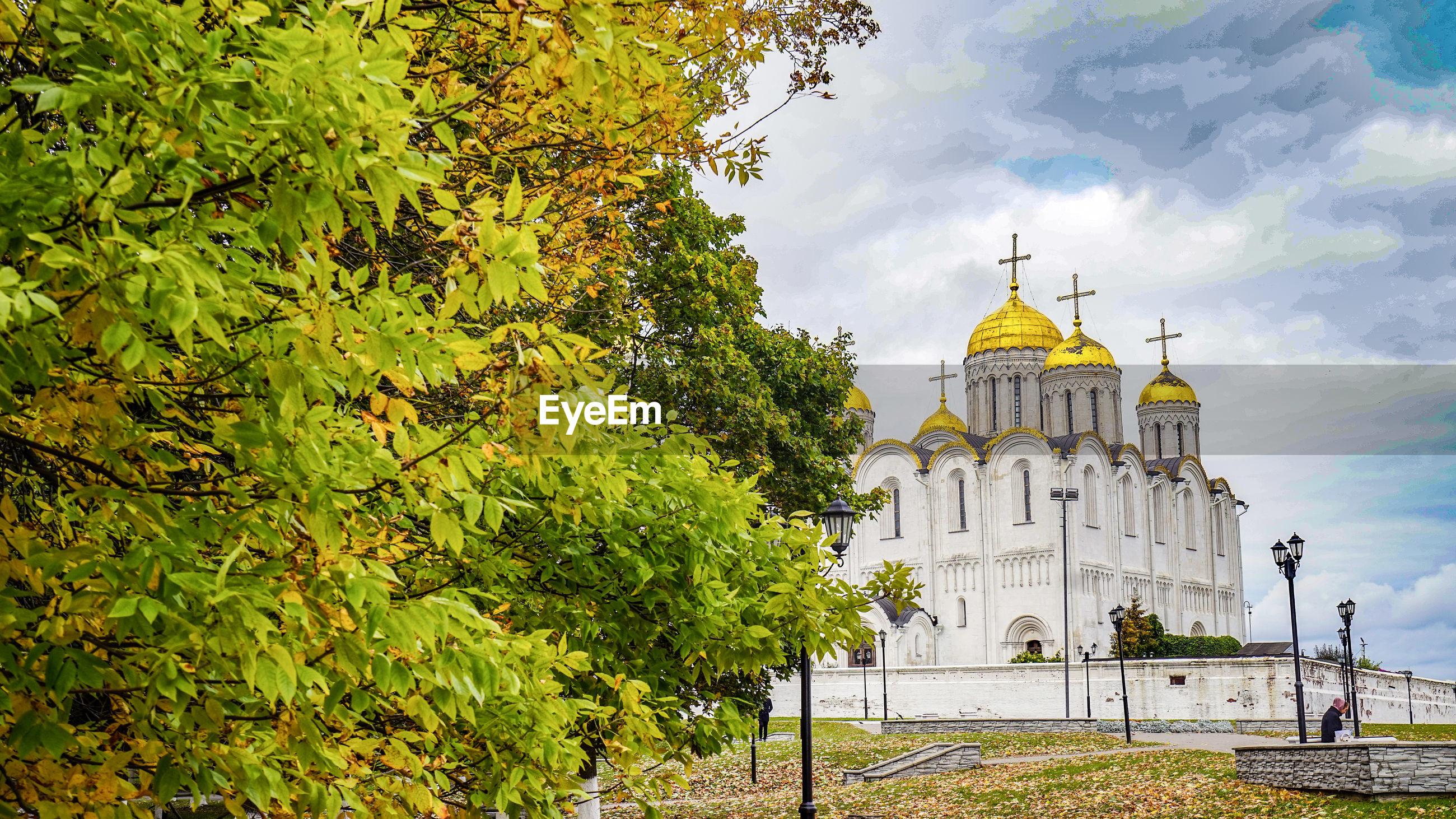 Elegant church in the golden season