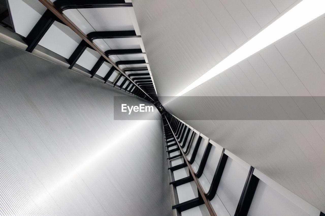 Tilt image of futuristic pedestrian tunnel