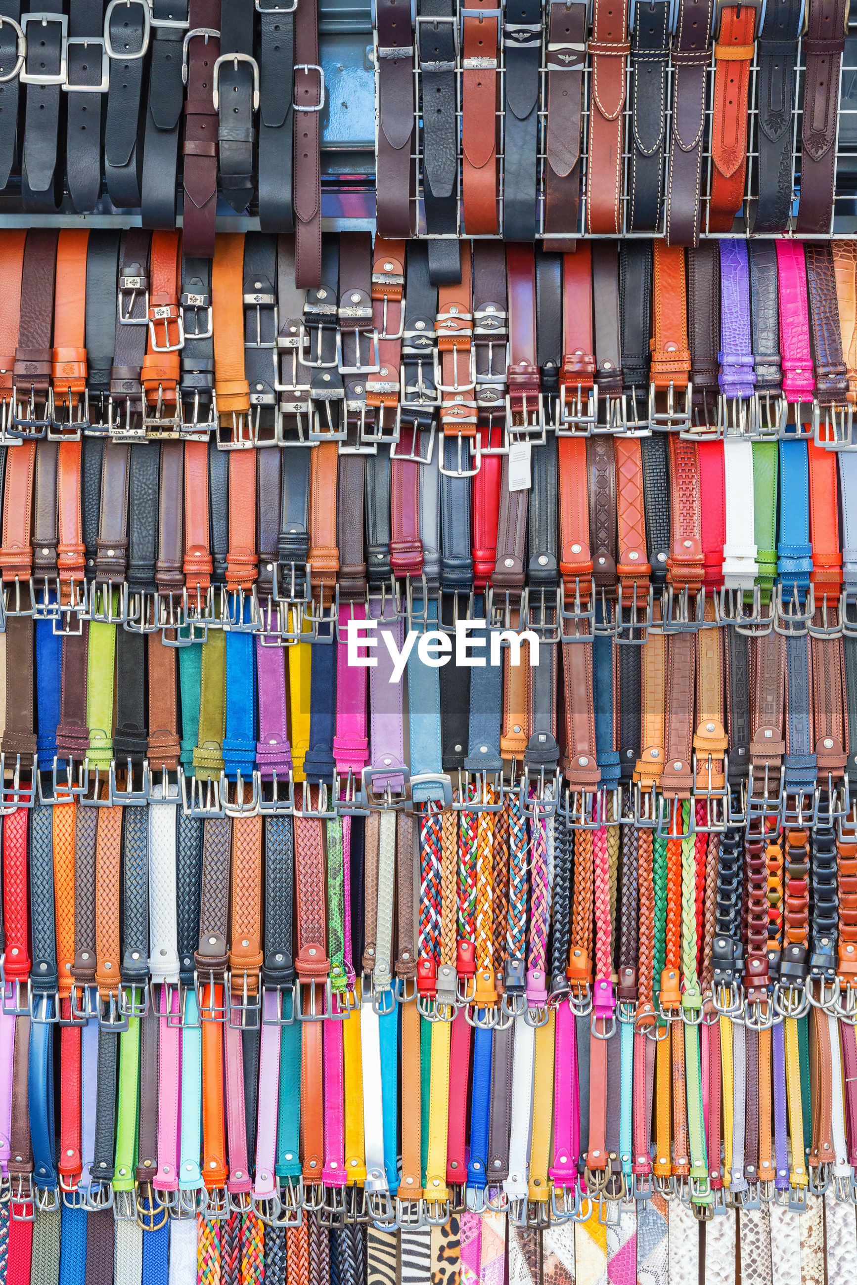 Full frame shot of multi colored belts