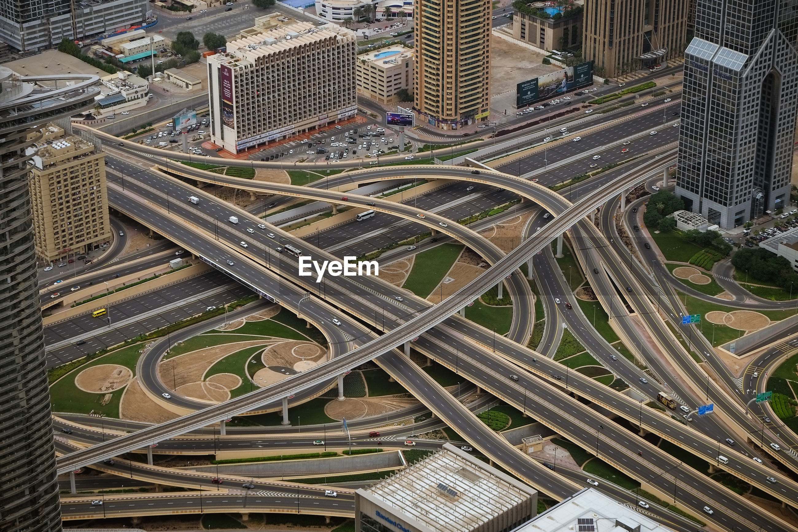 High angle view of elevated road amidst buildings in city