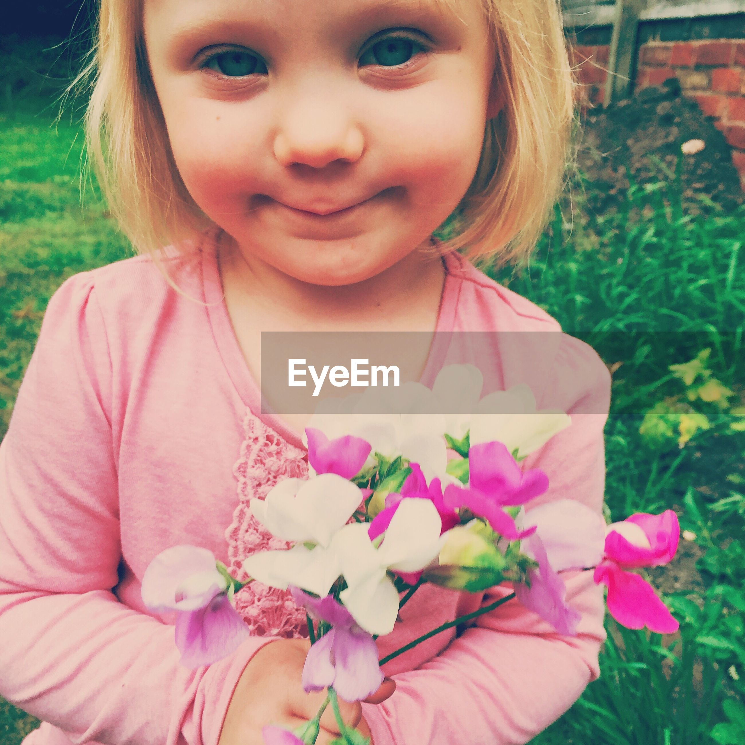 Portrait of cute girl holding flowers at yard