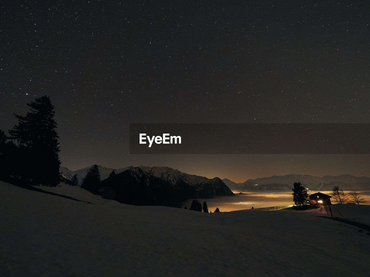 night, snow, mountain, sky, scenics - nature, beauty in nature, star - space, winter, cold temperature, space, nature, mountain range, astronomy, tranquility, tranquil scene, environment, star, land, landscape, outdoors, snowcapped mountain