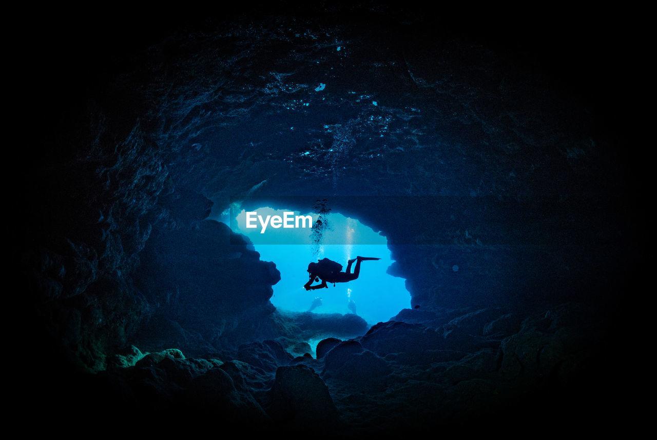 Scuba Diver In Underwater Cave