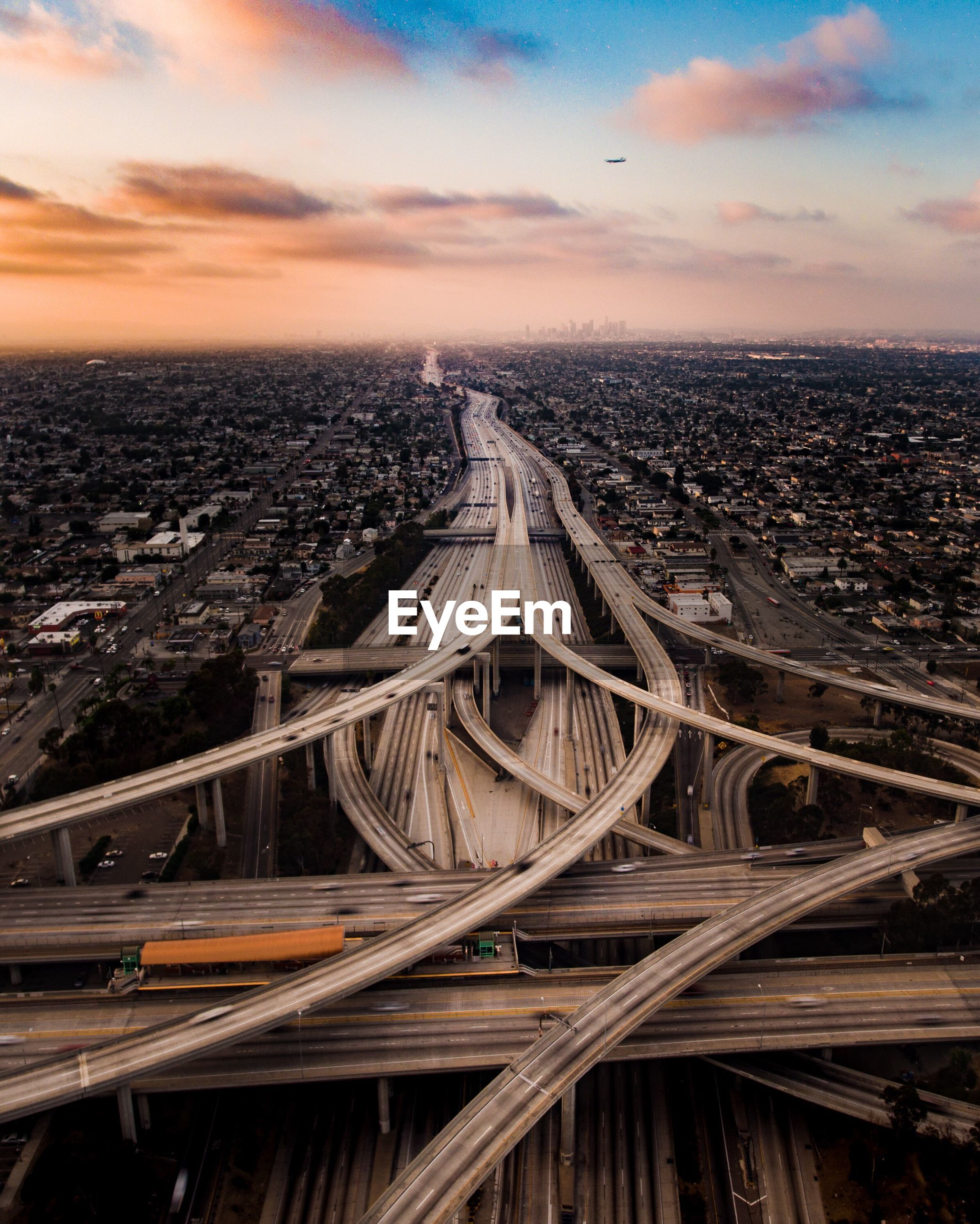 High angle view of multiple lane highways in los angeles