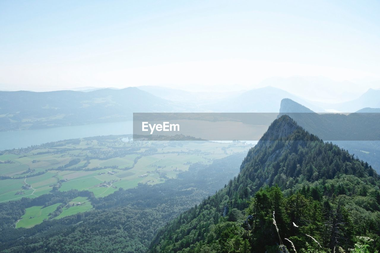 View of valley from mountain peak