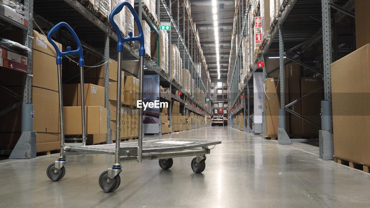 Forklift on floor in warehouse