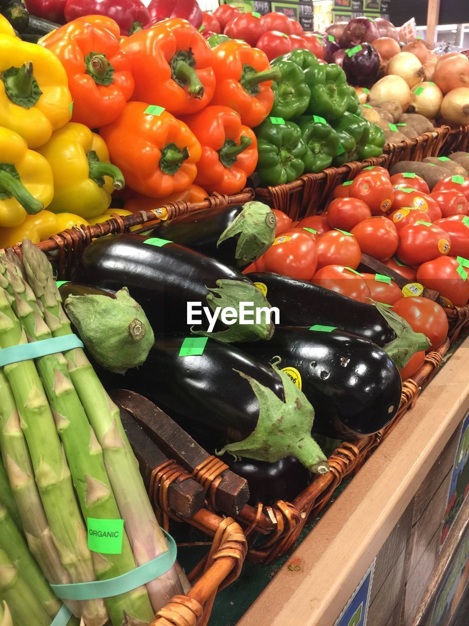 variation, vegetable, food, choice, food and drink, large group of objects, abundance, bell pepper, no people, for sale, tomato, high angle view, healthy eating, indoors, freshness, day, multi colored, close-up