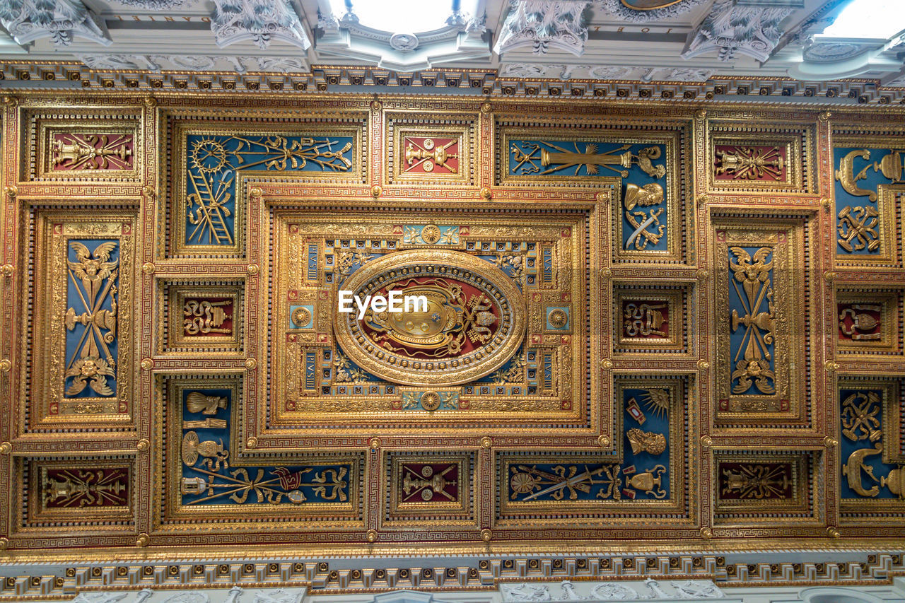 art and craft, craft, pattern, no people, ornate, design, indoors, ceiling, architecture, low angle view, decoration, travel destinations, the past, built structure, gold, history, creativity, gold colored, religion, building, gilded, mural, luxury, architecture and art