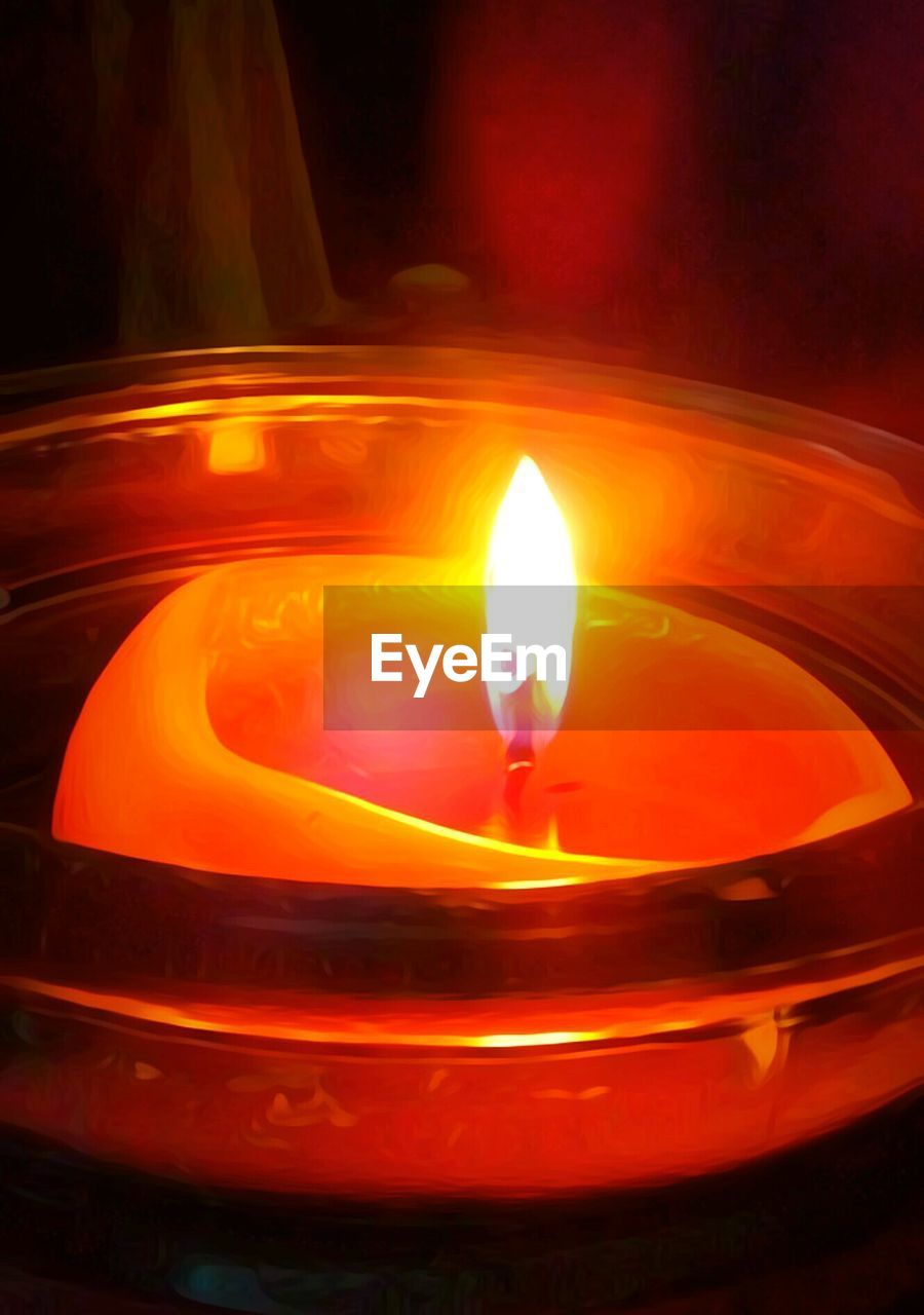 flame, burning, illuminated, no people, close-up, night, indoors