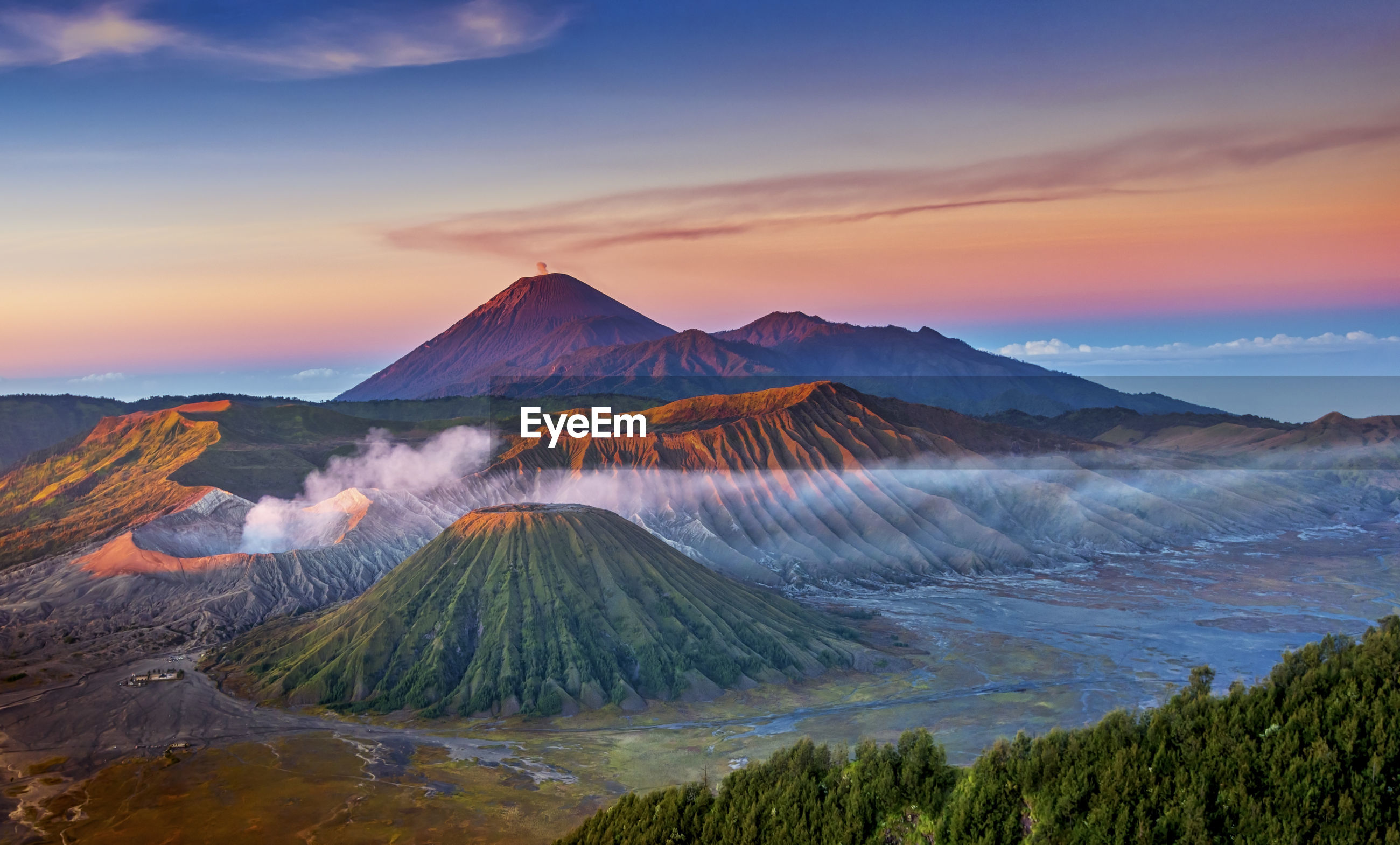 Majestic volcanic landscape at sunset