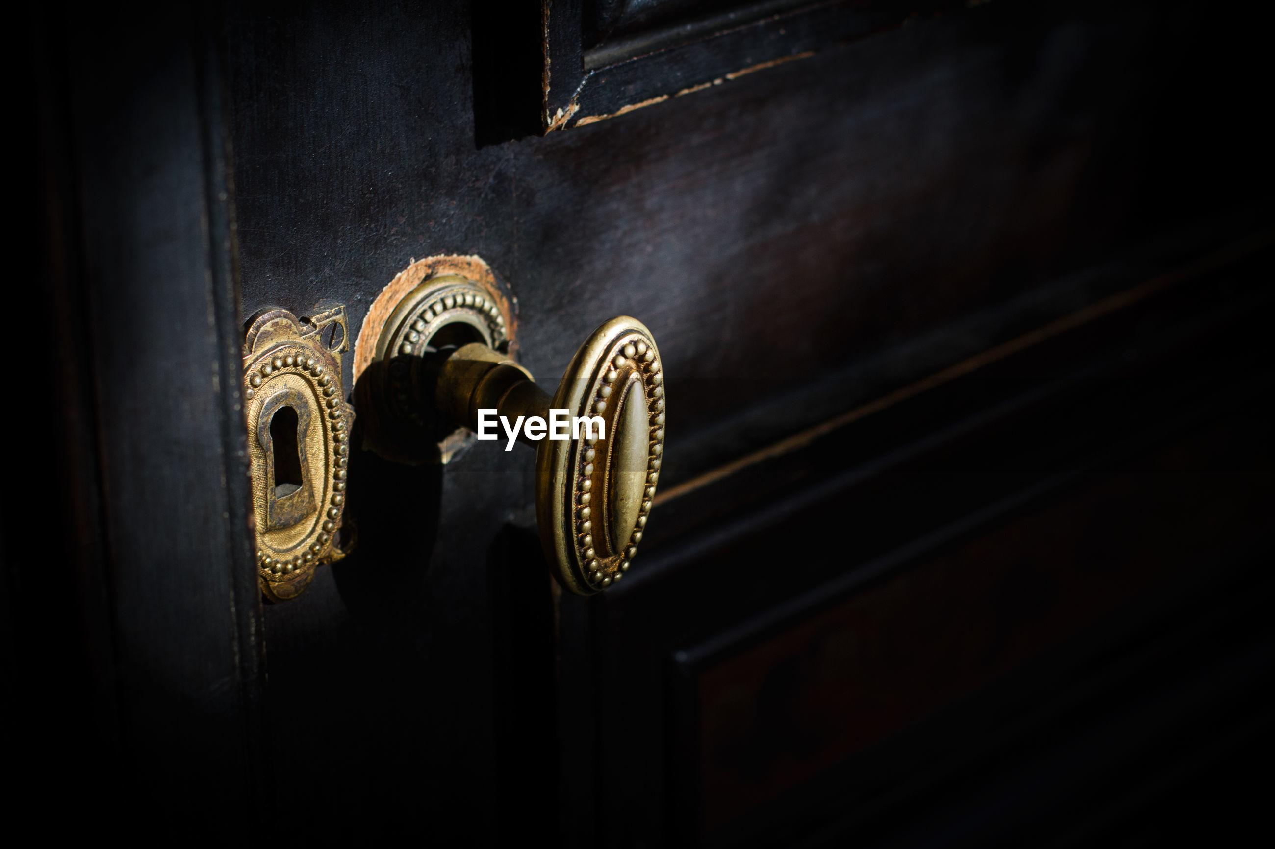 Close-up of broken door knob