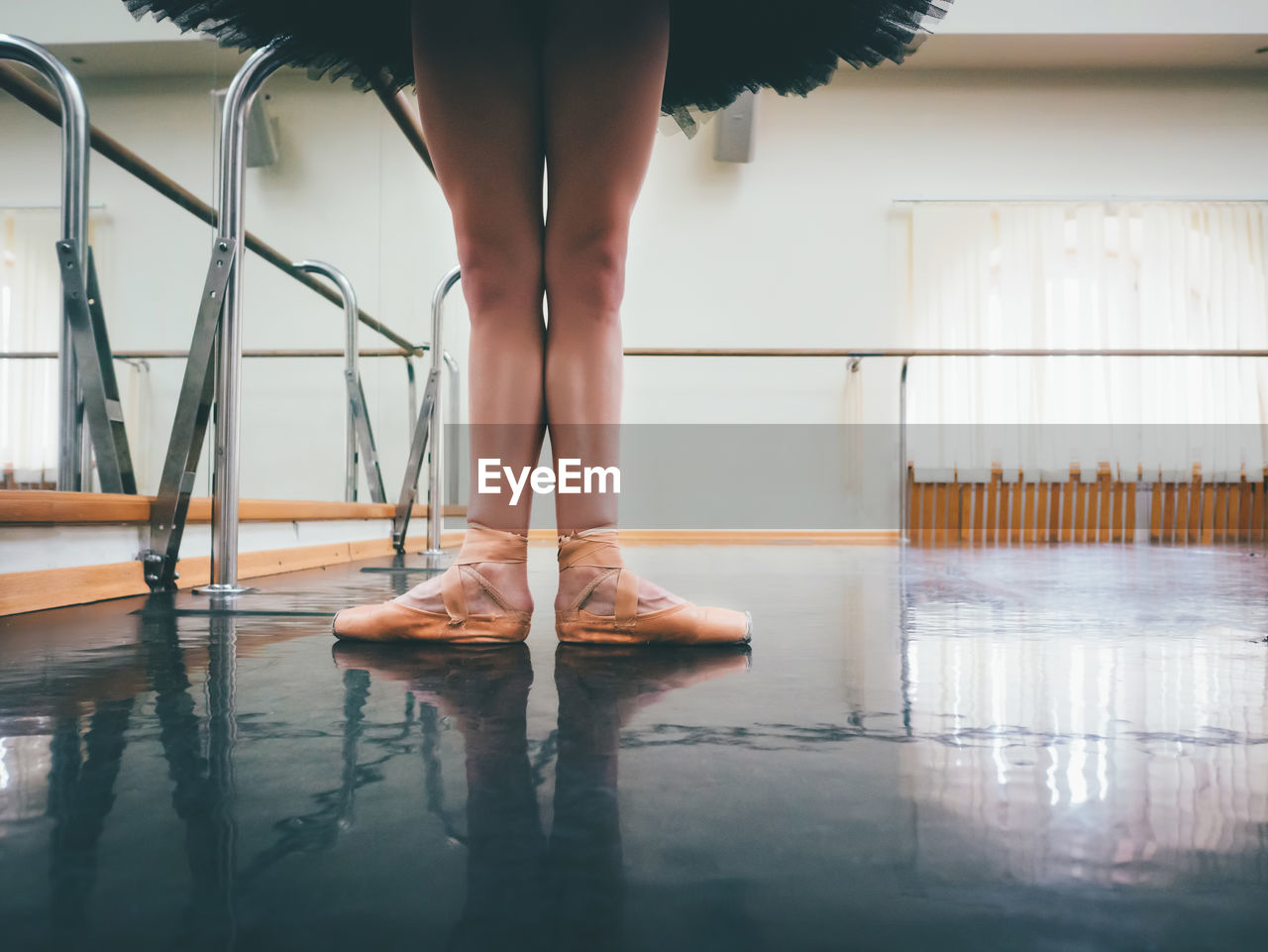 Low Section Of Ballet Dancer Standing On Floor
