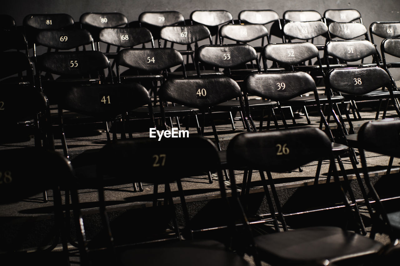 Empty numbered chairs in row