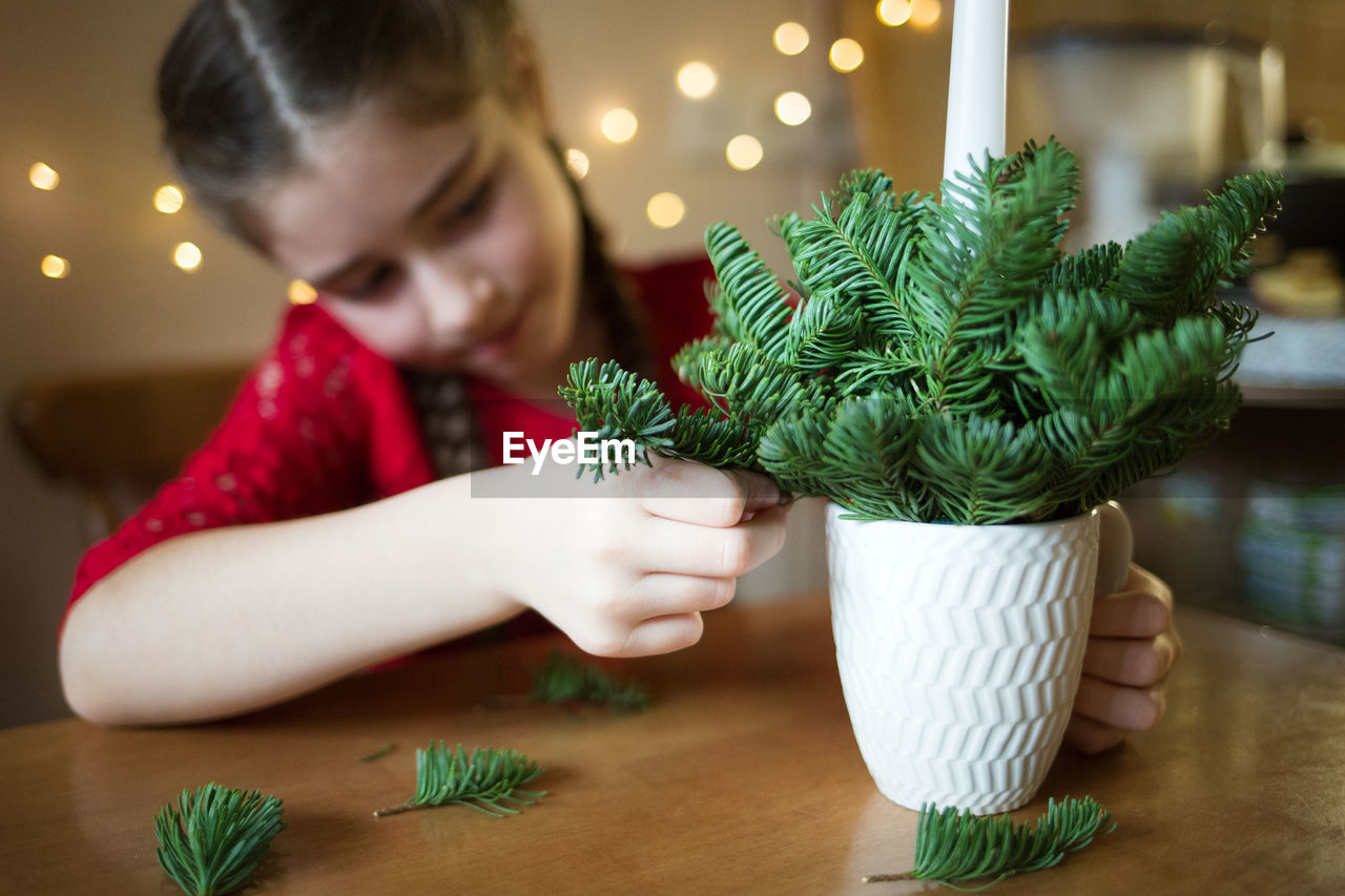 MIDSECTION OF WOMAN WITH CHRISTMAS TREE ON PLANT