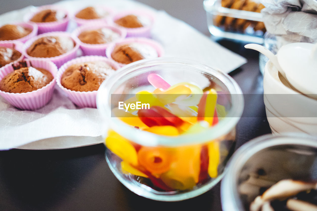 food and drink, food, table, freshness, still life, indoors, sweet food, close-up, ready-to-eat, indulgence, no people, sweet, dessert, high angle view, temptation, serving size, selective focus, healthy eating, bowl, variation, glass