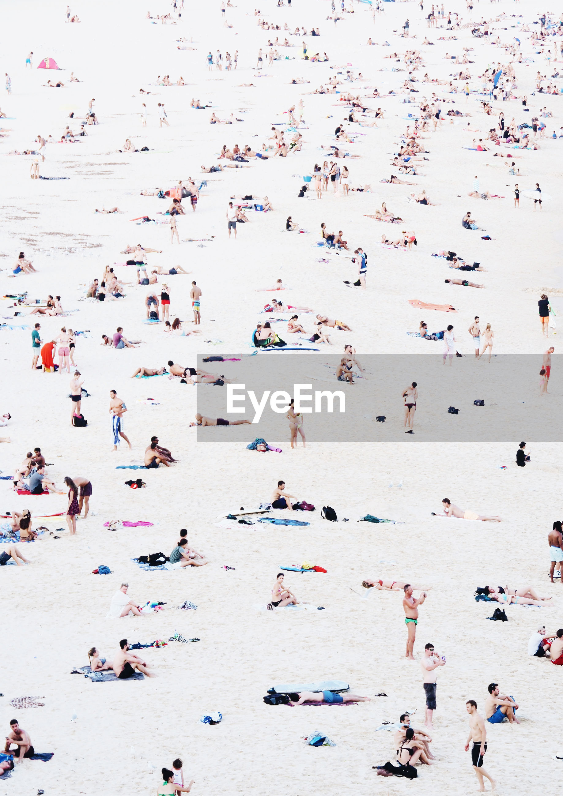 Tourists on beach in summer