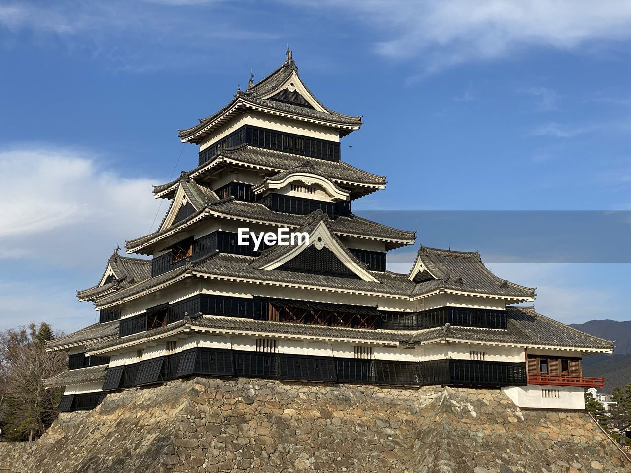 Low angle view of matsumoto castle against sky