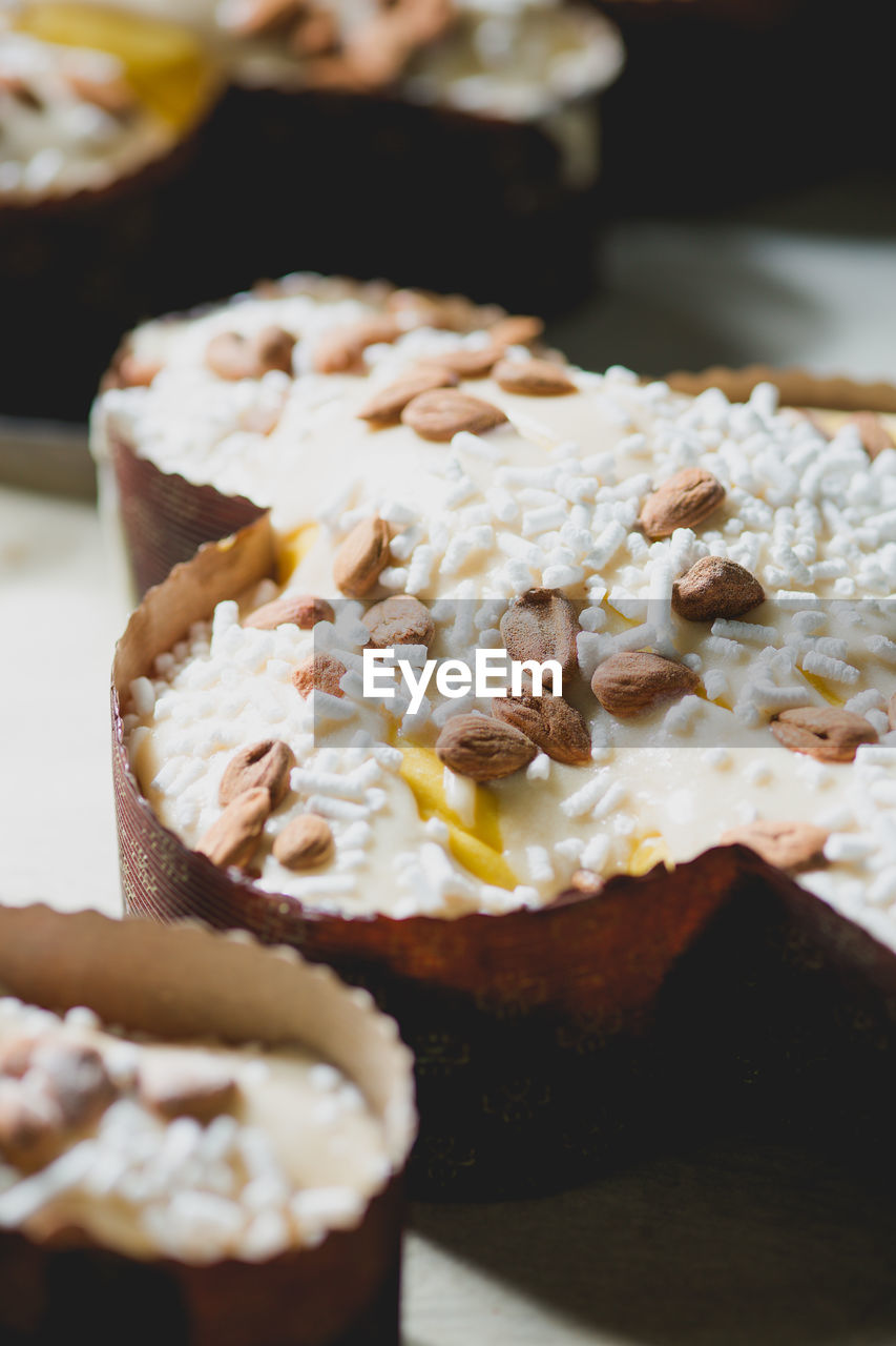 High Angle View Of Almond Cake During Easter