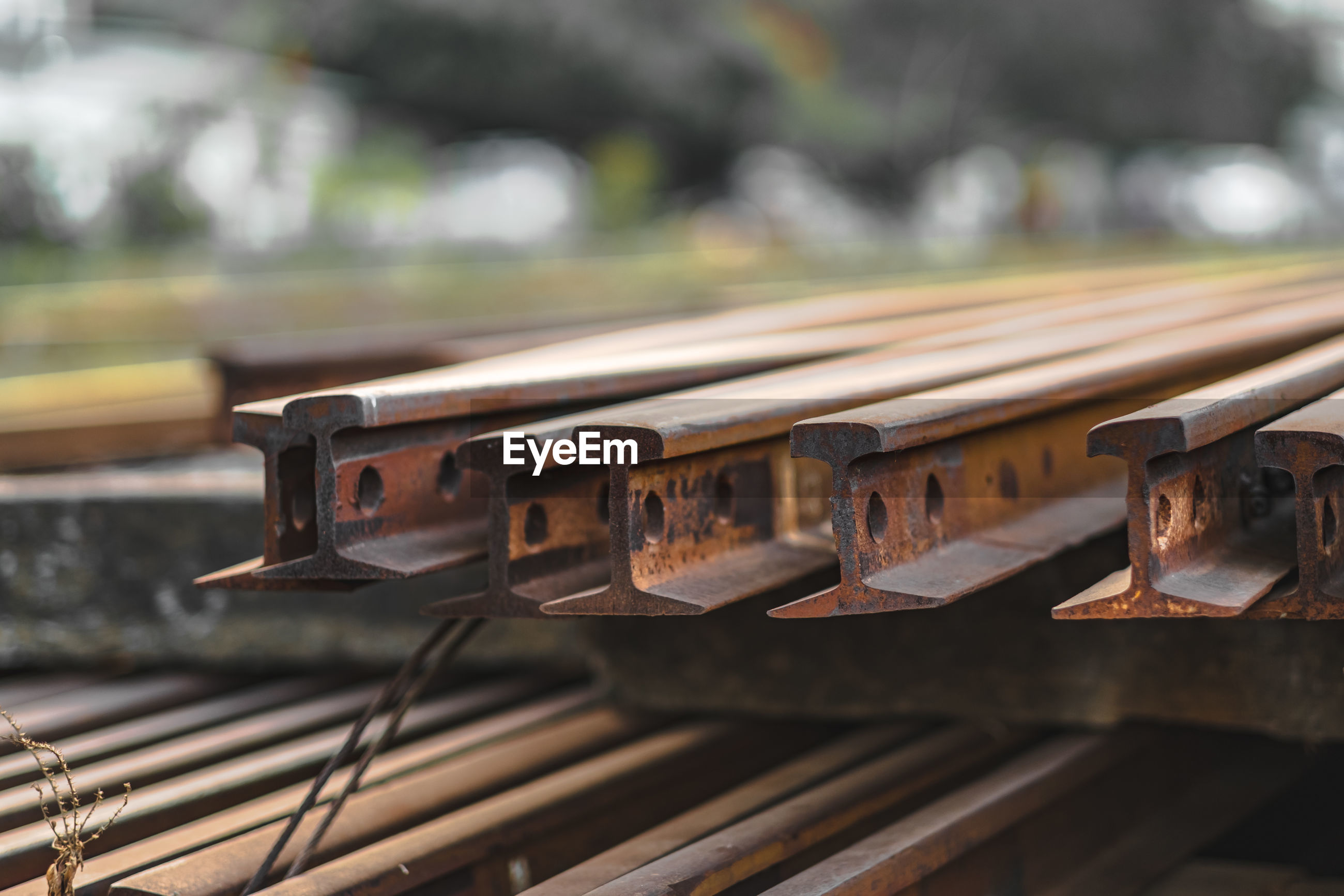 Close-up of iron old railroad track