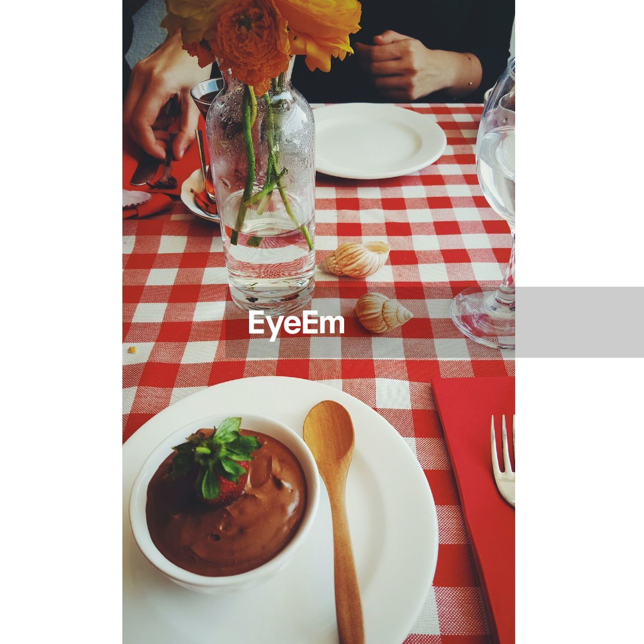food and drink, table, plate, food, freshness, indoors, refreshment, real people, serving size, healthy eating, bowl, ready-to-eat, drink, fork, tablecloth, directly above, close-up, two people, men, day, human hand