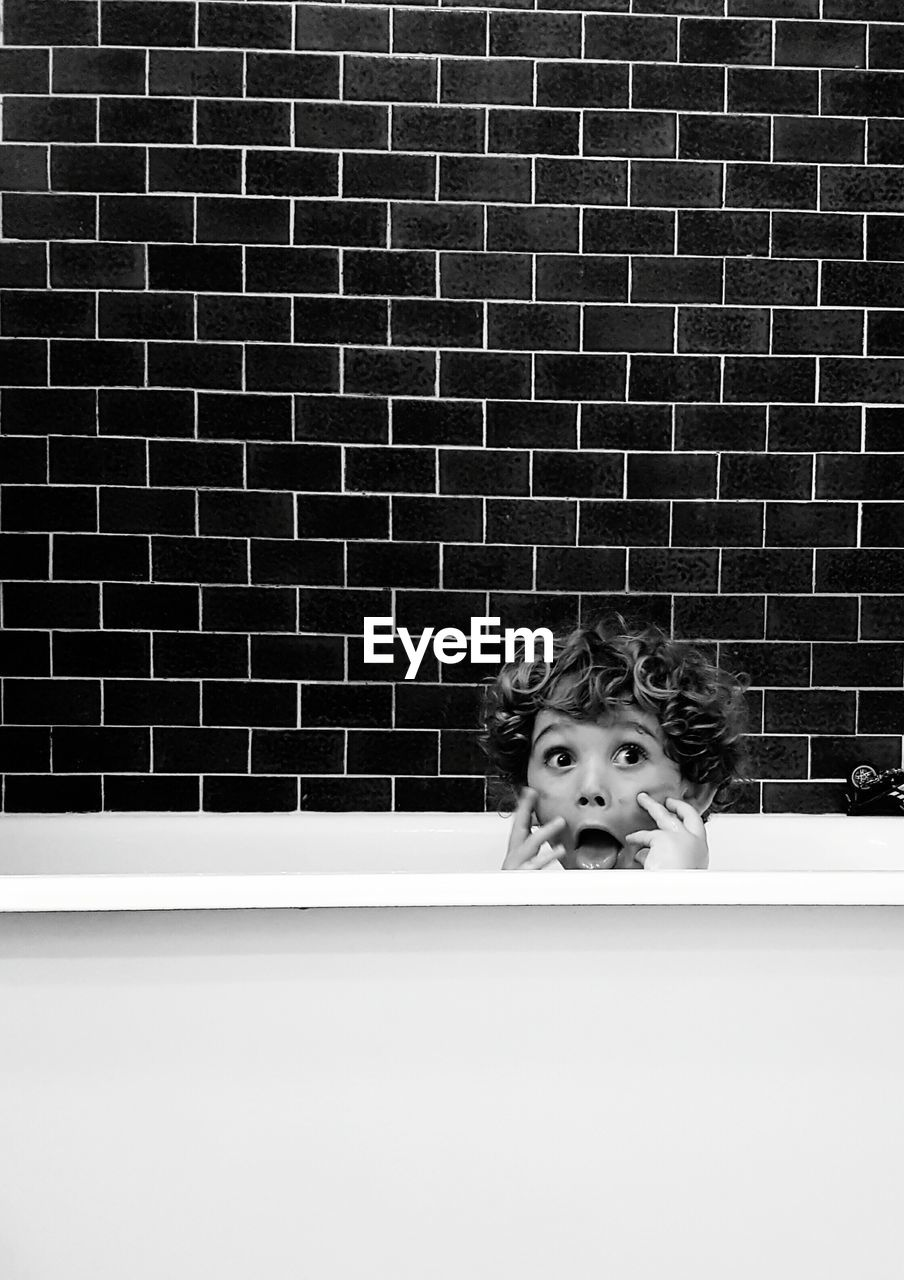 Portrait Of Boy In Bath
